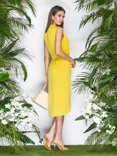 Желтое платье-халат из софта с закругленным низом - 21577, фото 4 – интернет-магазин Dressa