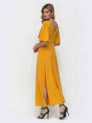 Желтое платье-макси с оборками на лифе 48489, фото 3