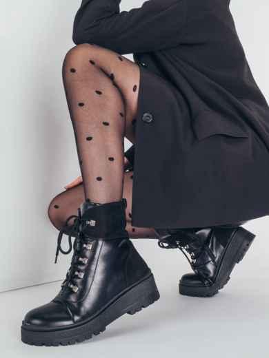 Зимние ботинки из эко-кожи чёрные 51442, фото 1