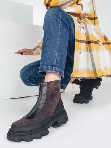 Зимние ботинки из искусственной замши на молнии коричневые 51728, фото 1