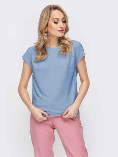 Блузка прямого кроя с люрексом голубая - 48191, фото 2 – интернет-магазин Dressa