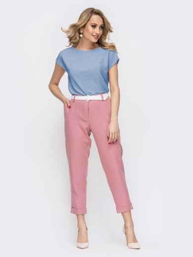 Блузка прямого кроя с люрексом голубая - 48191, фото 3 – интернет-магазин Dressa