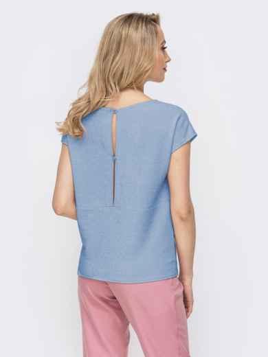 Блузка прямого кроя с люрексом голубая - 48191, фото 4 – интернет-магазин Dressa