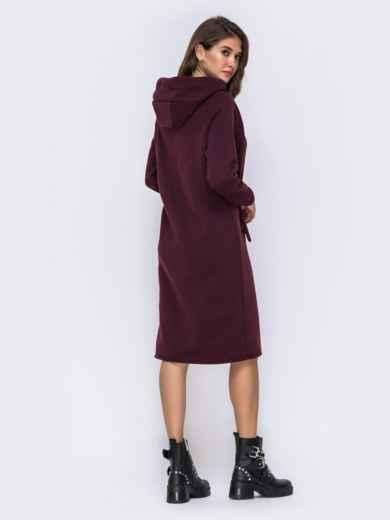 Бордовое платье на флисе в стиле oversize с капюшоном - 42533, фото 3 – интернет-магазин Dressa