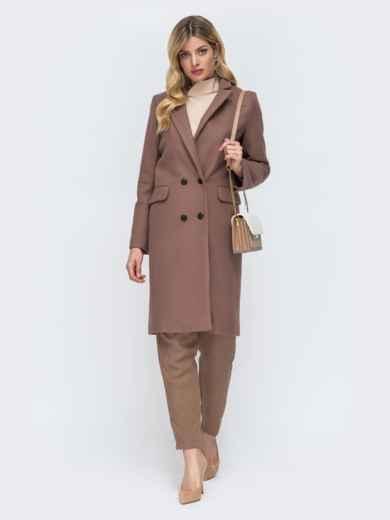 Двубортное пальто с карманами на полочке коричневое 45452, фото 1