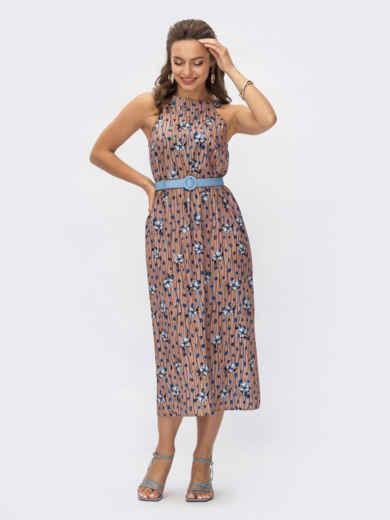 Платье коричневое в цветочный принт  54365, фото 1