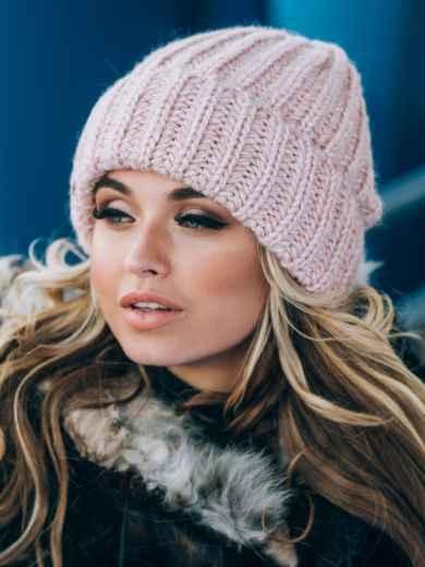 Пудровая шапка без подкладки - 14757, фото 2 – интернет-магазин Dressa