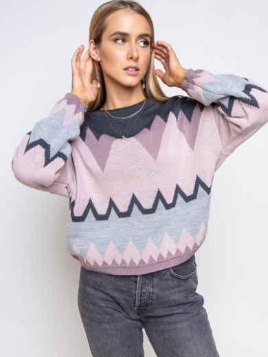 Пудровый свитер мелкой вязки с геометрическим узором 54966, фото 1