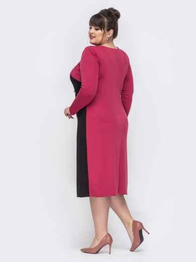 Розовое платье батал со вставками на полочке - 44461, фото 2 – интернет-магазин Dressa