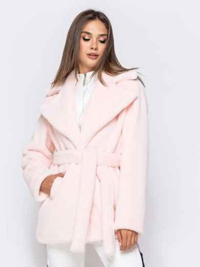 Укороченная шуба из искусственного меха розовая - 40173, фото 2 – интернет-магазин Dressa