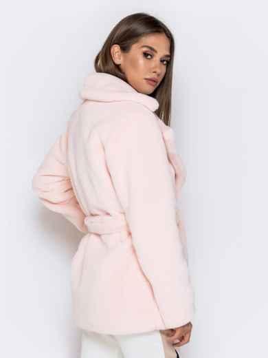 Укороченная шуба из искусственного меха розовая - 40173, фото 3 – интернет-магазин Dressa