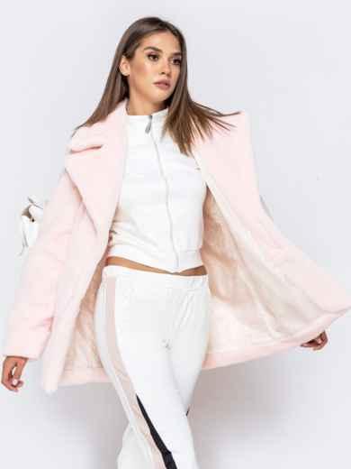 Укороченная шуба из искусственного меха розовая - 40173, фото 5 – интернет-магазин Dressa