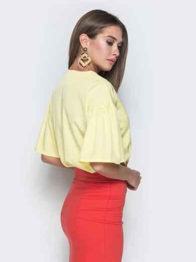 """Желтая блузка прямого кроя с рукавом """"колокол"""" - 38521, фото 2 – интернет-магазин Dressa"""