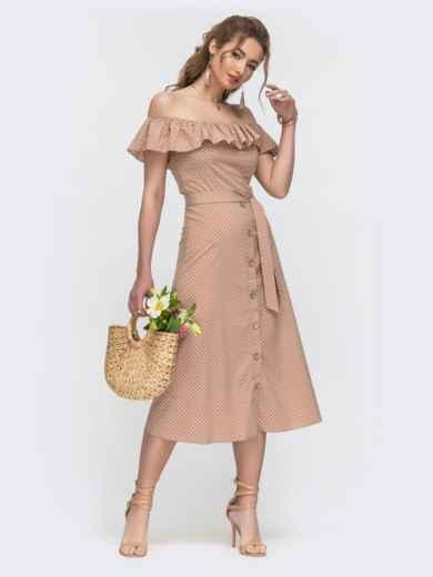 Бежевое платье в горох с открытыми плечами 46673, фото 1