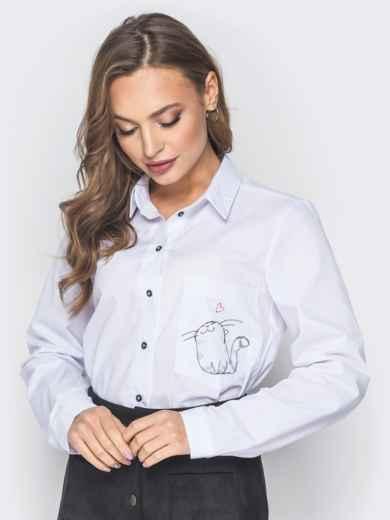 """Блузка с длинным рукавом и принтом """"котик"""" на кармане 18722, фото 1"""