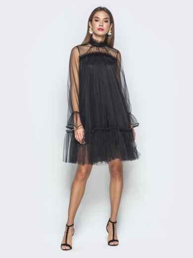 Чёрное платье-трапеция из фатина с воланом по низу 40120, фото 1
