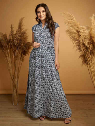 Длинное платье батал с принтом и напуском по талии тёмно-синее 48736, фото 1