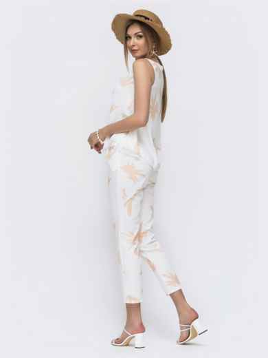 Комплект с бежевым принтом из топа и брюк - 46668, фото 2 – интернет-магазин Dressa