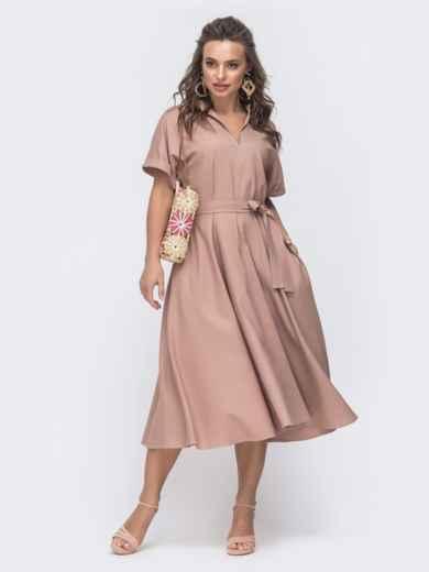 Льняное платье-кимоно с разрезом спереди пудровое 46827, фото 2