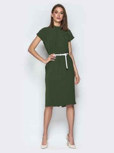 Платье oversize с карманами хаки - 20855, фото 2 – интернет-магазин Dressa