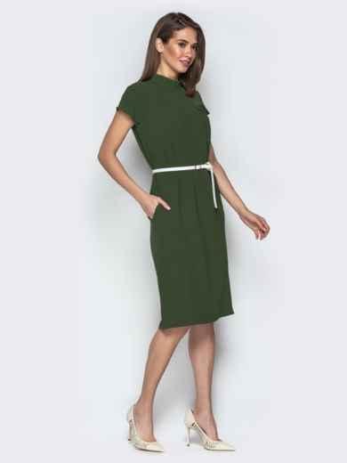Платье oversize с карманами хаки - 20855, фото 3 – интернет-магазин Dressa