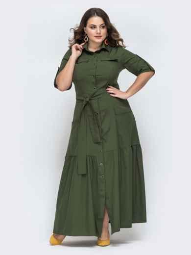 Платье-рубашка большого размера в пол хаки - 45139, фото 1 – интернет-магазин Dressa