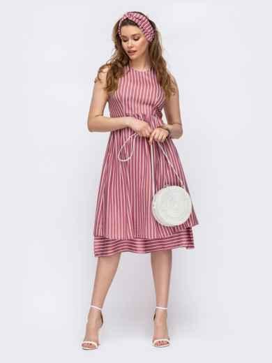 Приталенное платье из льна в полоску красное 46670, фото 1