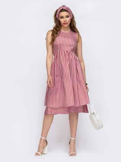 Приталенное платье из льна в полоску красное 46670, фото 2