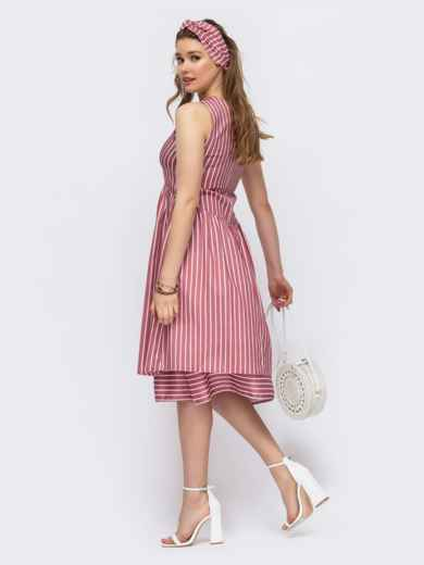 Приталенное платье из льна в полоску красное 46670, фото 3