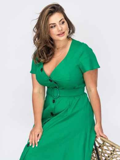 Зеленое платье из льна с фигурным вырезом 53935, фото 1