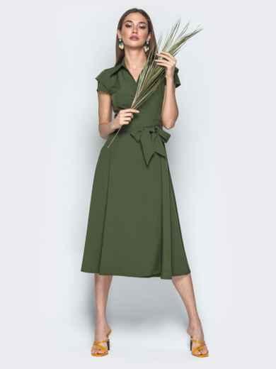 """Платье на запах с двухъярусным рукавом """"крылышко"""" хаки 22027, фото 1"""
