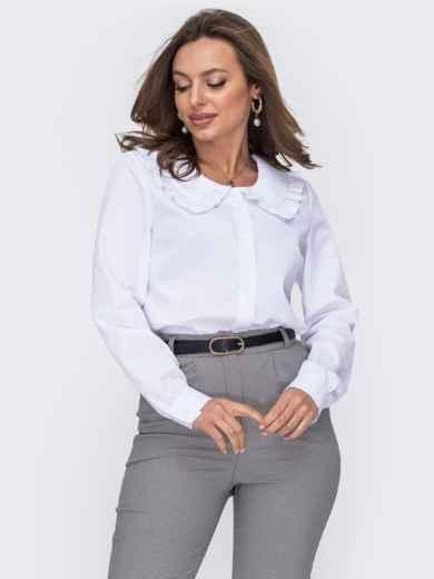 Белая блузка из хлопка с воротником 53655, фото 1