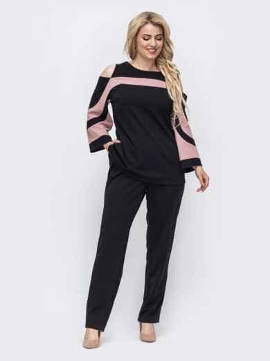 Брючный комплект большого размера с блузкой пудровый 50733, фото 1