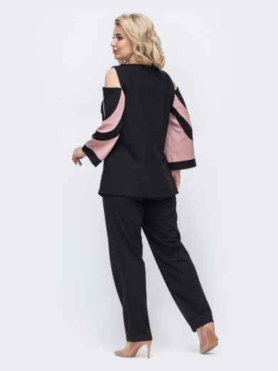 Брючный комплект большого размера с блузкой пудровый 50733, фото 2