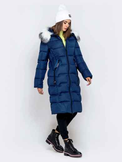 Длинная куртка со съемным капюшоном тёмно-синяя - 40163, фото 2 – интернет-магазин Dressa