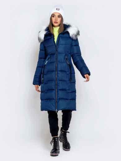 Длинная куртка со съемным капюшоном тёмно-синяя - 40163, фото 3 – интернет-магазин Dressa