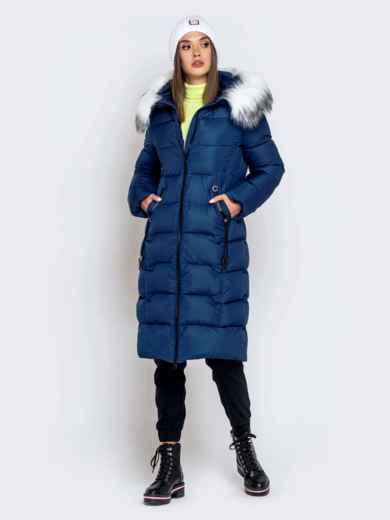 Длинная куртка со съемным капюшоном тёмно-синяя - 40163, фото 4 – интернет-магазин Dressa