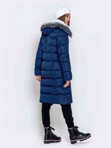 Длинная куртка со съемным капюшоном тёмно-синяя - 40163, фото 5 – интернет-магазин Dressa
