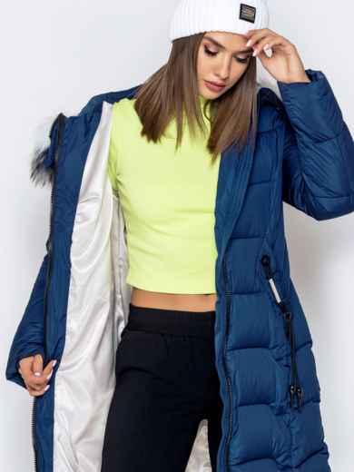Длинная куртка со съемным капюшоном тёмно-синяя - 40163, фото 6 – интернет-магазин Dressa