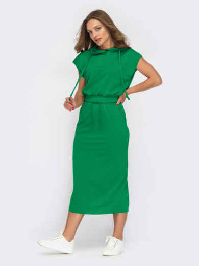 Костюм зеленого цвета из юбки и топа с капюшоном 54474, фото 1
