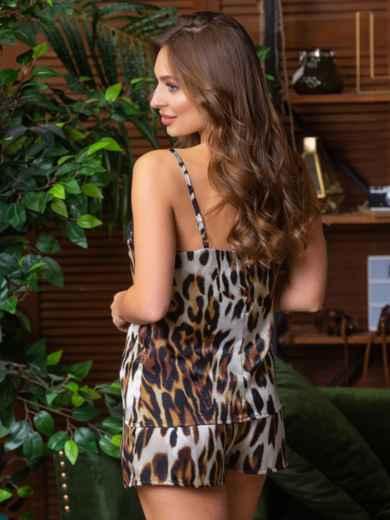 Леопардовая пижама из топа с кружевом и шортов - 21289, фото 2 – интернет-магазин Dressa