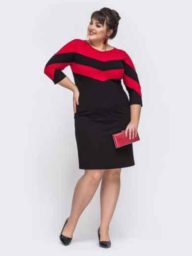 Приталенное платье с контрастными вставками чёрное 43356, фото 1