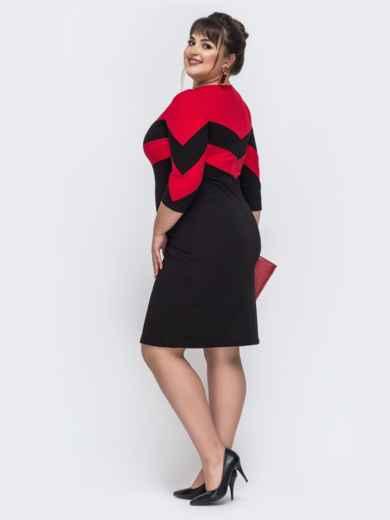 Приталенное платье с контрастными вставками чёрное 43356, фото 2