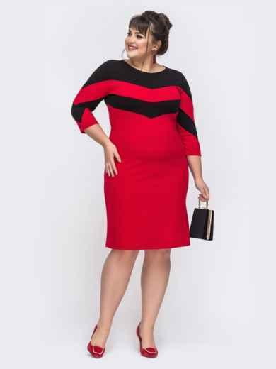 Приталенное платье с контрастными вставками красное 43357, фото 1