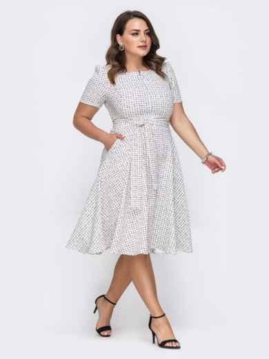Платье батал с принтом и расклешенной юбкой белое 49670, фото 1