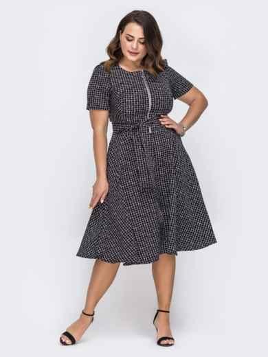 Платье батал с принтом и расклешенной юбкой чёрное 49669, фото 1