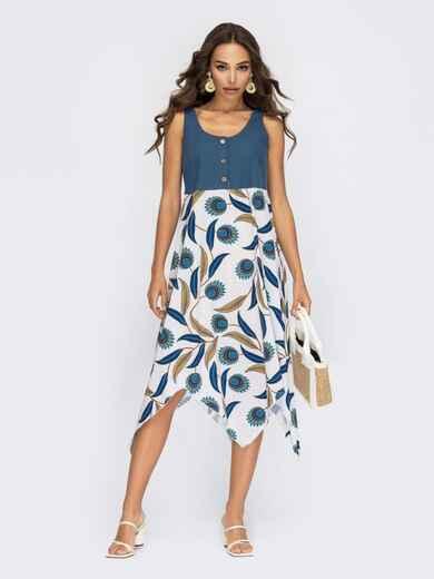 Платье без рукавов с принтованной асимметричной юбкой белого цвета 53867, фото 1