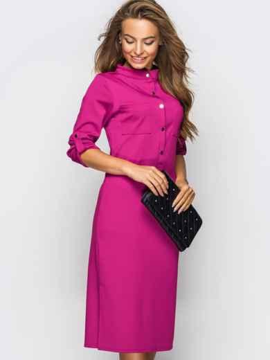 Платье полуприталенного кроя с функциональными шлевками розовое 49208, фото 1