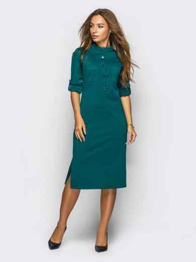 Платье полуприталенного кроя с функциональными шлевками зелёное 54003, фото 1