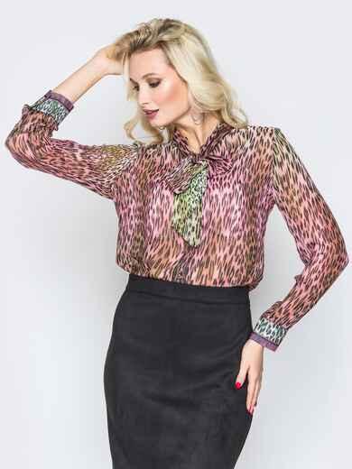 Принтованная блузка с воротником аскот розовая - 19385, фото 1 – интернет-магазин Dressa